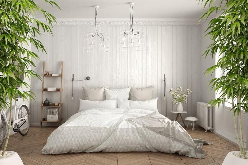 Светлая спальня в интерьере